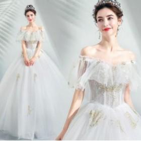 29d8e26839f ウェディングドレス パーティードレス オフショルダー 花柄 二次会 結婚式 披露宴 司会者 舞台衣装