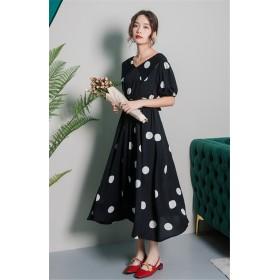 超人気 新製品発売 韓国ファッション シフォン エレガント ドット柄 半袖 ワンピース