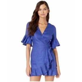ベベ レディース ワンピース トップス Linen Wrap Mini Dress Clematis Blue