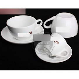 【濃縮咖啡杯-COSTA-白瓷-口徑5*高5cm-碟徑11.5cm-75ml-2套/組】出口馬克杯 花式卡布奇諾杯 強化瓷 杯子-7501010