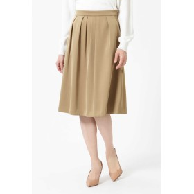 NATURAL BEAUTY タックフレアカラースカート ひざ丈スカート,ベージュ
