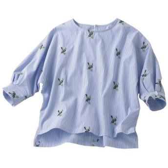 50%OFF【レディース】 刺繍使いプルオーバー ■カラー:ストライプA ■サイズ:S,M,L,LL