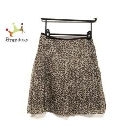 ニジュウサンク スカート サイズ40 M レディース 美品 ベージュ×ブラウン×ダークブラウン 豹柄   スペシャル特価 20191006