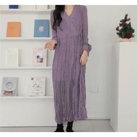 Floral style ワンピース 春 夏 韓国 ファッション ニュー プリーツ 多色 フローラル プリント ミディアムロング ドレス ロングスカート 女性 カジュアル エレガント ゆったり