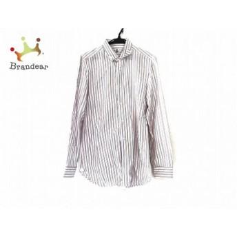 ボレリ BORRELLI 長袖シャツ サイズ40 M メンズ 美品 白×レッド×ライトブルー ストライプ 新着 20190621