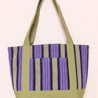手織り木綿生地 トートバッグ