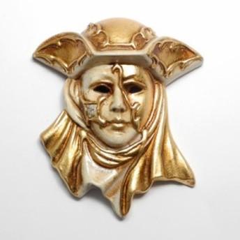 Made in ITALY 陶器 壁掛けベネチアンカーニバルマスク 帽子 カペッロ 仮面 ベージュ 金 クリスマス