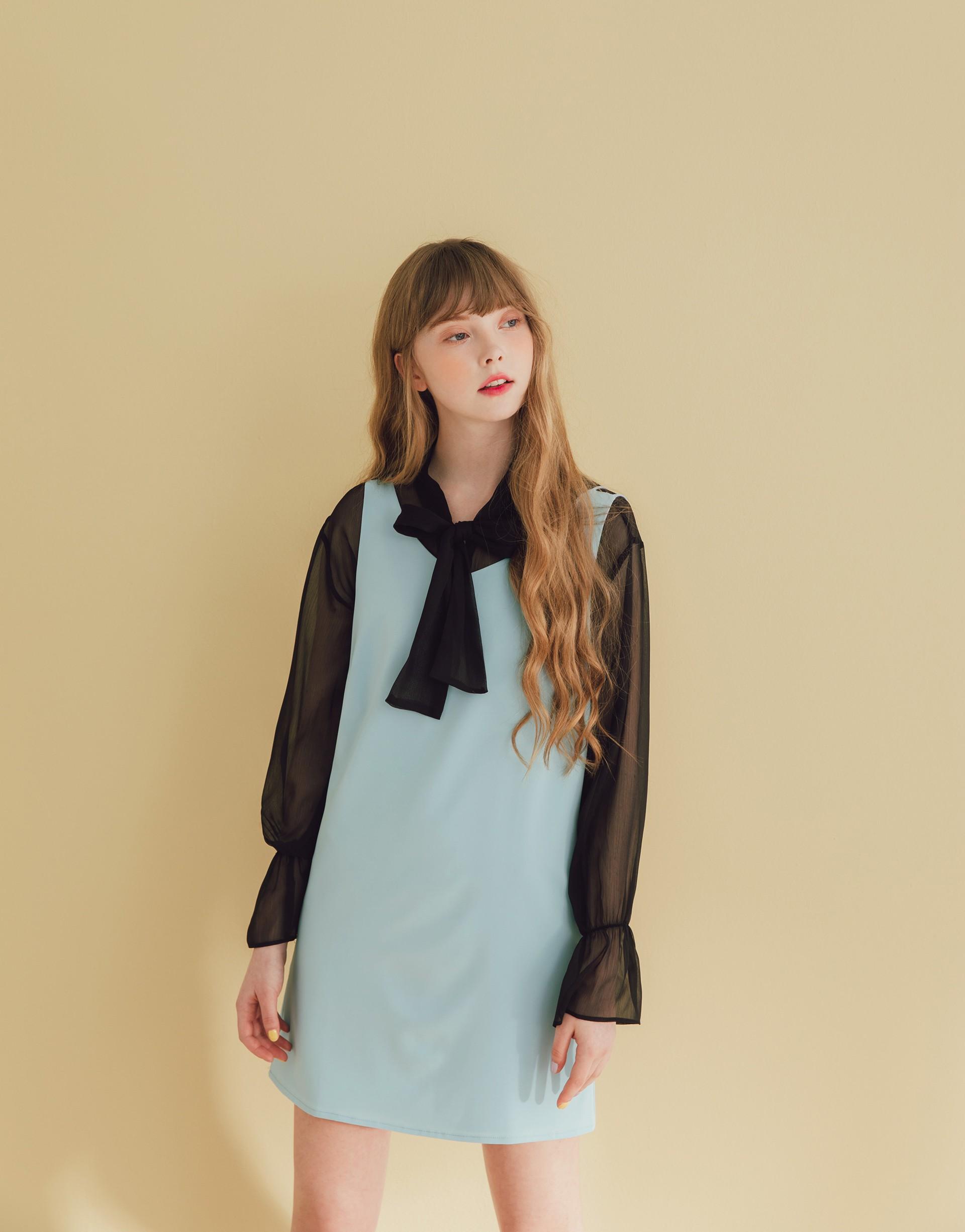 雙肩V領洋裝-PAZZO