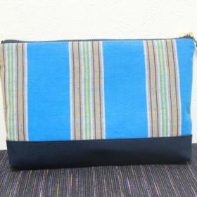 手織り木綿生地 ポーチ(W20×D3×H13cm)