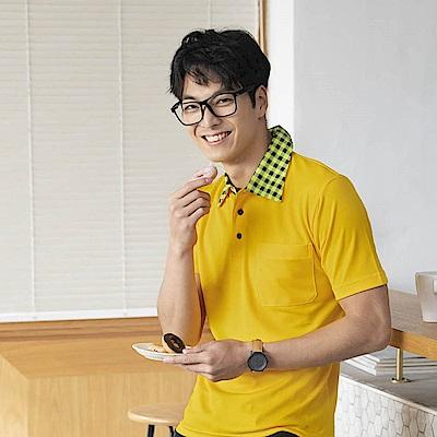 LEIDOOE 竹藤布格紋領男短袖衫Polo衫 76020