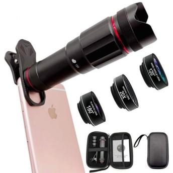 スマホレンズセット Faireach 18倍望遠レンズ 120°広角レンズ 180°魚眼レンズ 20倍マイクロレンズ 4in1セット 収納バッグ付き iphone/Android 多機種対応 全金