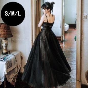 女性 ドレス 高品質レースドレス プリンセス コンクール ブラック 演奏會 バレエ衣裝 コーラス イベント レディースワンピース