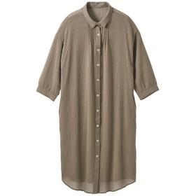 60%OFF【レディース】 ロングシャツ(7分袖)(遮熱) - セシール ■カラー:カーキ ■サイズ:L,M,LL