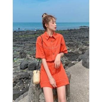 春 夏 セットアップ ツーピース デニム オレンジ 半袖 ズボン パンツ ショートパンツ リゾート 海 プール 韓国 プチプラ SY-6-117