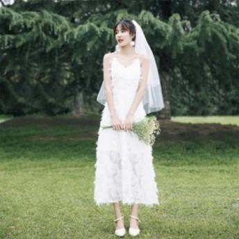 ウェディングドレス 大きいサイズ ウェディング 花嫁 白 刺繍 レース パーティードレス ロング丈 ナチュラルウェディング 小さいサイズ