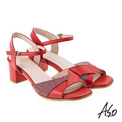 A.S.O 阿瘦 絨面羊皮拼接低跟涼拖鞋 橘紅 10026000300-34