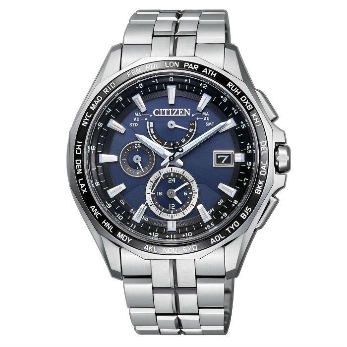 CITIZEN星辰錶 AT9090-53L 旗艦電波光動能鈦金屬多功能時尚腕錶/藍面43mm