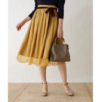 Couture Brooch / クチュールブローチ ◆パンジーレースミモレ丈スカート