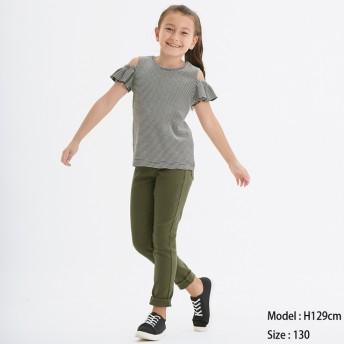 (GU)KIDS(男女兼用)エクストラストレッチカラーレギンスパンツ(のびのびパンツ) OLIVE 120