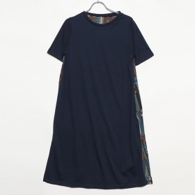 ラナン Ranan バックプリントロングTシャツ (ネイビーキカガラ)