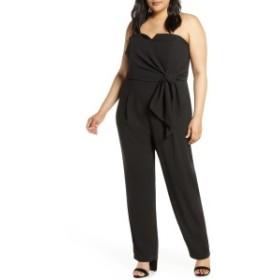 エロクイ レディース ワンピース トップス ELOQUII Strapless Faux Wrap Jumpsuit (Plus Size) Black