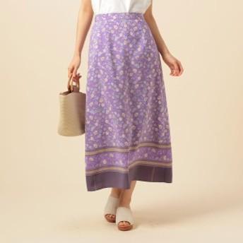 ドゥ アルシーヴ(Doux archives)/花柄裾ボーダーロングスカート