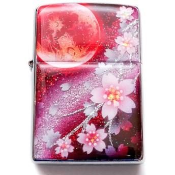 名入れ無料 ZIPPO 炎月と桜 ジッポ ライター 箱付き 銀箔