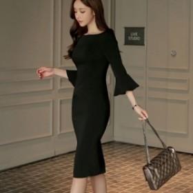 フリル袖・シンプルミディータイトドレス