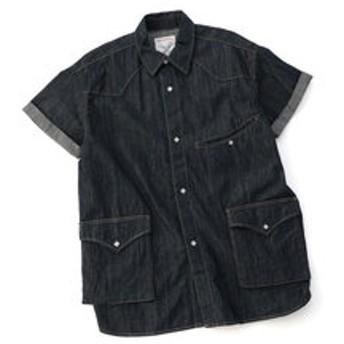 【メンズビギ:トップス】ウエスタンデニムハーフスリーブシャツ/コットン100%