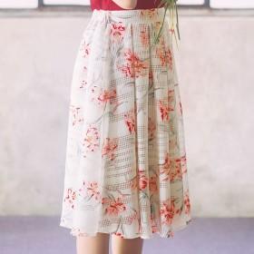 GeeRA メッシュ素材花柄プリントスカート