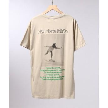 EDIFICE LIFE×Hombre Nino フロントロゴ Tシャツ ベージュ M
