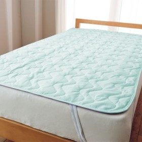 平織りパッドシーツ - セシール ■カラー:ブルー ピンク アイボリー ミントグリーン ホワイト ソフトパープル ■サイズ:クィーン(160×205cm),セミダブル(120×205cm),ダブル(140×205cm),シングル(100×205cm)