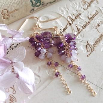 *再販*【14kgf】wisteria*アメジストのシャワーピアス