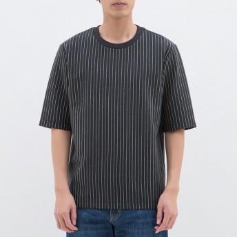 (GU)ポンチクルーネックT(5分袖)(ストライプ) NAVY L