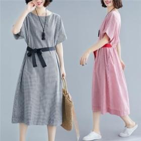 ワンピース ファッション レディース 丸いネック チェック柄 半袖 ロング丈 ゆったり 着痩せ 通勤 夏 20代 30代 40代