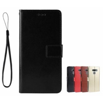 LG K50 ケース 手帳型 レザー シンプル おしゃれ 上質 高級 PUレザー ストラップ付き スタンド機能 カード収納 LG K50 手帳型