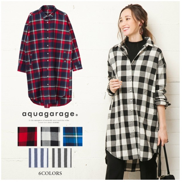 aquagarage ビッグシルエットロングシャツ レディース