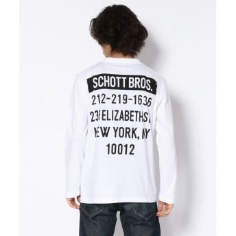 ショット LS T SHIRT STORE ADRRESS/ストア アドレスTシャツ メンズ WHITE L 【Schott】