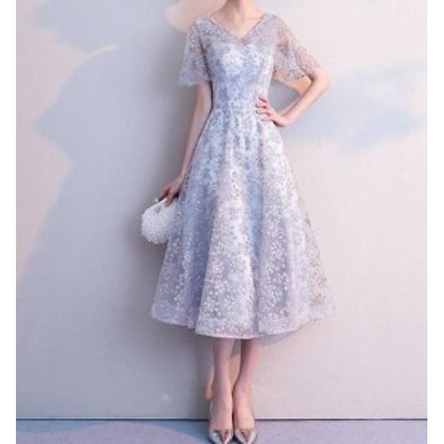 パーティードレスワンピース透け感レース結婚式お呼ばれ披露宴演奏會二次會韓國オルチャン