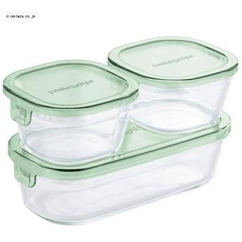 iwaki 保存容器 角型3点セット グリーン PSCPRN3G2 【買い回りキャンペーン対象品】