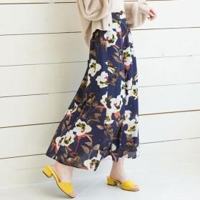 ユメテンボウ 夢展望 リネンライク花柄フレアマキシスカート (ネイビー)