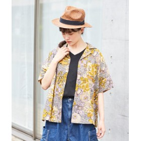 【CUBE SUGAR:トップス】インド 綿ボイル 総柄プリント オープンカラーシャツ