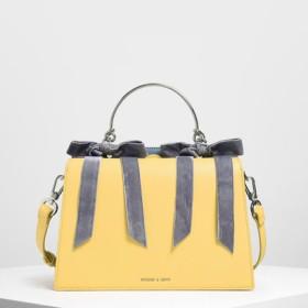 【2019 FALL 新作】ベルベットボウディテール トップハンドルバッグ / Velvet Bow Detail Top Handle Bag(Yellow)