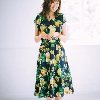 GeeRA カシュクール花柄ワンピース レディース