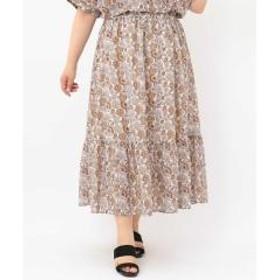 【a.v.v×eur3】【大きいサイズ】ペイスリープリントロングスカート【お取り寄せ商品】