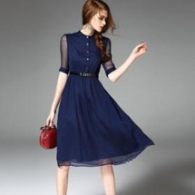 フロントボタン Aラインミディドレス ワンピース レディース 大きいサイズ ひざ丈 五分袖 半袖 ベルト付き クルーネック