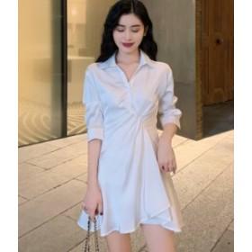 シャツワンピース チュニック 白 ホワイト きれいめ ミニ 秋物 冬物 最新 レディース ファッション 6月新着 人気 可愛い大人