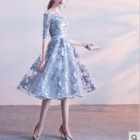ドレス 膝下丈ドレス レース刺繍 花柄 5分袖 フレアスカート レースアップ シースルー エレガント 上品 パーティー お呼ばれ 結婚式 二次