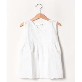 (ikka/イッカ)【キッズ】ノースリスカラップ刺繍ブラウス(120~160cm)/レディース ホワイト