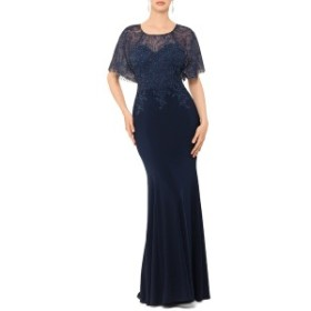 エスケープ レディース ワンピース トップス Xscape Embroidered and Bead Embellished Trumpet Evening Gown Navy